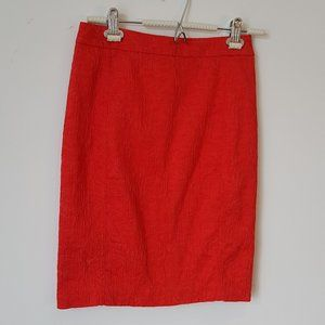 Anthropologie Red Floral Textured Skirt Size 0